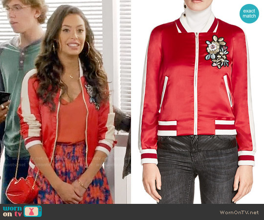 Maje Bob Embroidered Satin Bomber Jacket worn by Kibby Ainsley (Chloe Bridges) on Daytime Divas