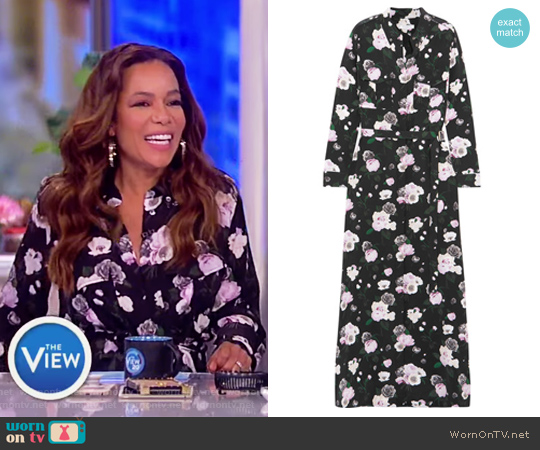 Major printed washed-silk maxi dress by Equipment worn by Sunny Hostin on The View