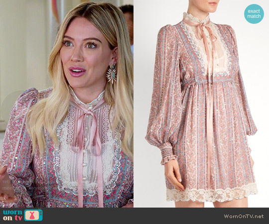 Marc Jacobs Crystal-embellished striped paisley-print dress worn by Kelsey Peters (Hilary Duff) on Younger