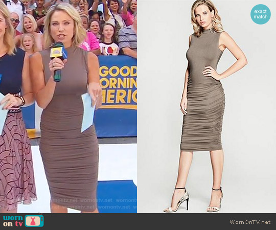 Adela Ruched Dress by Marciano by Guess worn by Amy Robach on Good Morning America