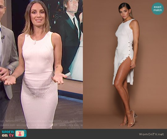 'Hilaria' Ribbed Knit Dress by Meshki worn by Catt Sadler  on E! News
