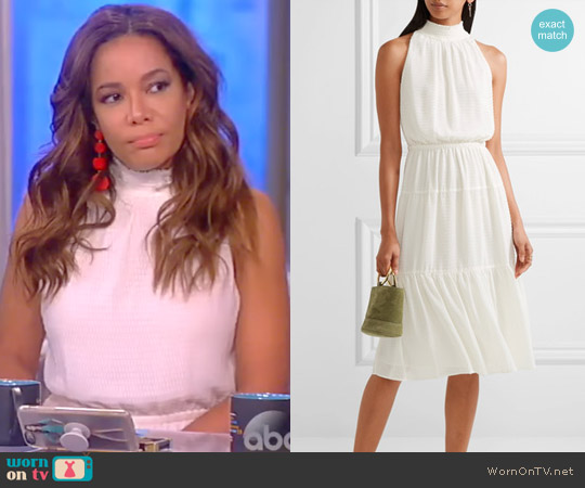 Smocked fil coupé chiffon midi dress by MICHAEL Michael Kors worn by Sunny Hostin  on The View