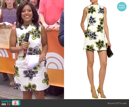 'Astrid' Floral Print Cotton Blend Mini Dress by Milly worn by Sheinelle Jones on Today