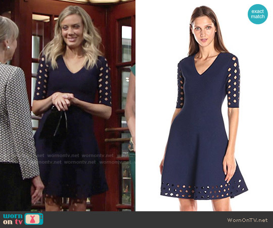Milly Diamond Pointelle Flare Dress worn by Melissa Ordway on The Young & the Restless