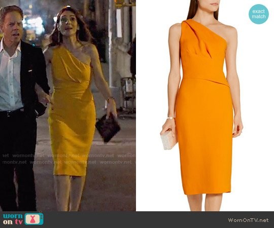 Narciso Rodriguez One-shoulder stretch-crepe dress worn by Samantha Delmonico (Annie Parisse) on Friends from College