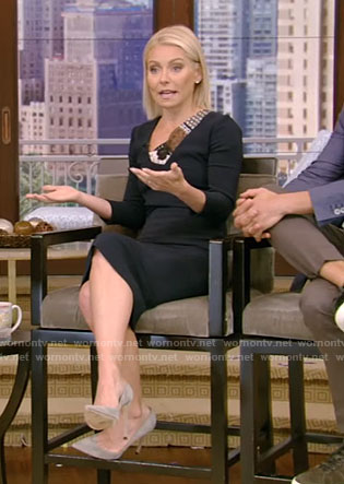 Kelly's navy dress with lace panels on Live With Kelly