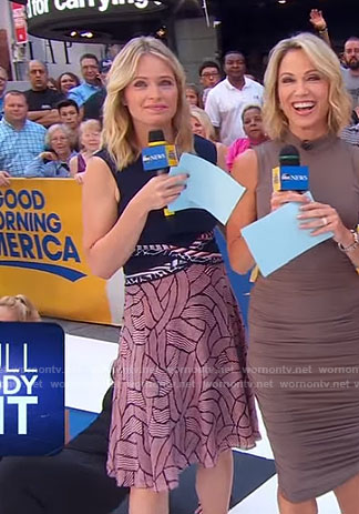 Sara's navy ladder print dress on Good Morning America