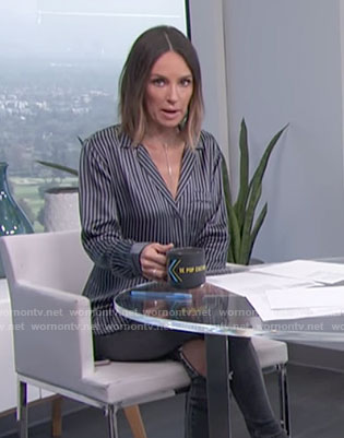 Catt's navy striped satin shirt on E! News Daily Pop