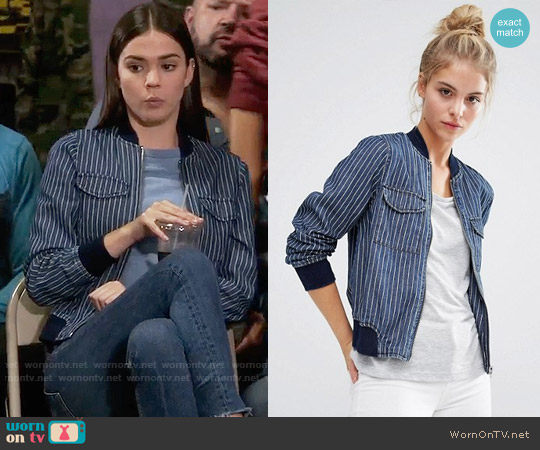 Noisy May Denim Pin Stripe Bomber Jacket worn by Callie Jacob (Maia Mitchell) on The Fosters
