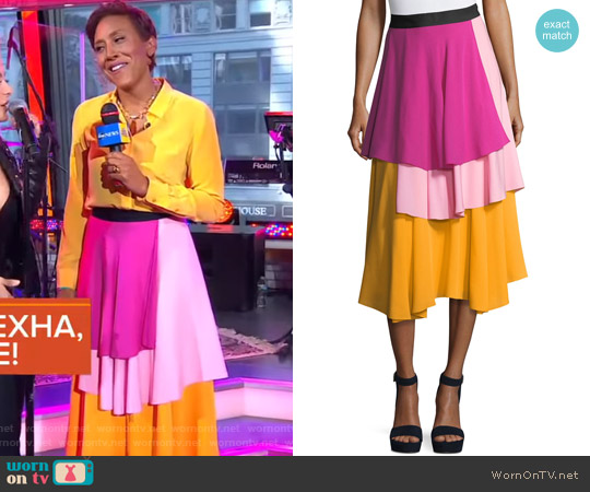 The York Layered Midi Skirt by Novis worn by Robin Roberts on Good Morning America