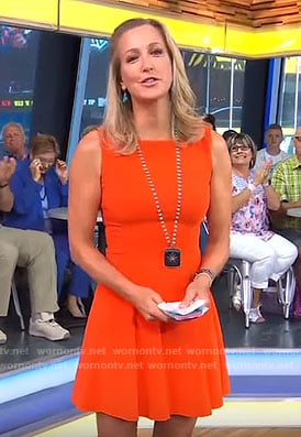 Lara's orange fit and flare dress on Good Morning America