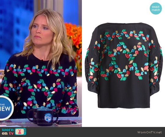 Boat-neck fil coupe silk-blend top by Peter Pilotto worn by Sara Haines  on The View