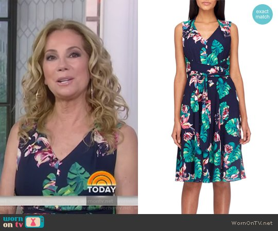 Palm Fit & Flare Dress by Tahari ASL worn by Kathie Lee Gifford on Today