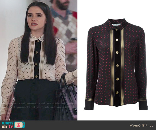 Philosophy De Lorenzo Serafini Striped Polka Dot Blouse worn by Katie Stevens on The Bold Type