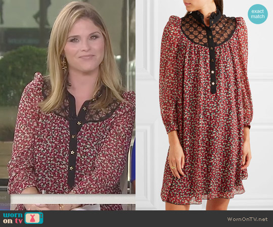 Lace-Paneled Printed Chiffon Mini Dress by Philosophy di Lorenzo Serafini worn by Jenna Bush Hager  on Today