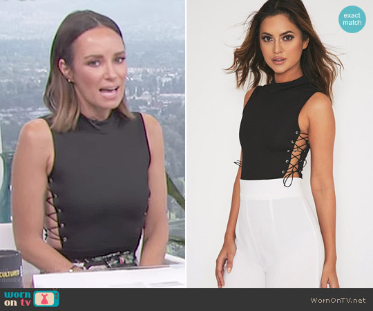 Annette Black Lace Up Side Thong Bodysuit by Pretty Little Thing worn by Catt Sadler on E! News