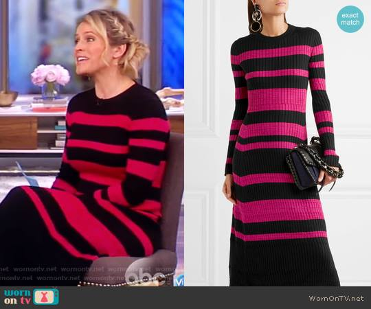 Striped ribbed wool-blend midi dress by Proenza Schouler worn by Sara Haines (Sara Haines) on The View