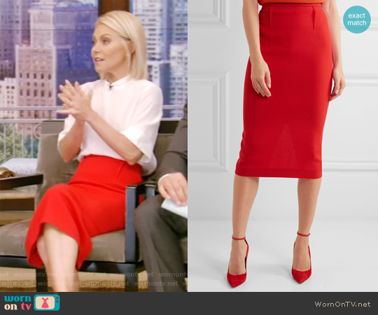 Arreton Wool-Crepe Pencil Skirt by Roland Mouret worn by Kelly Ripa on Live with Kelly & Ryan