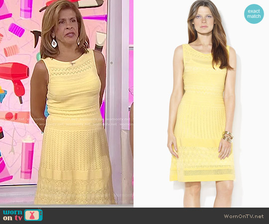 Sleeveless Pointelle-Knit Sweater Dress by Ralph Lauren worn by Hoda Kotb  on Today
