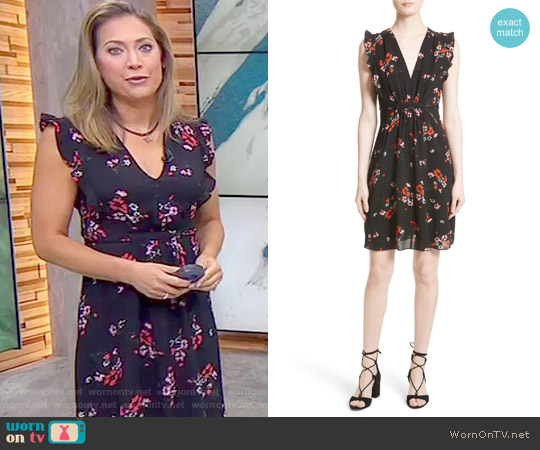 'Marguerite' Floral Stretch Silk Dress by Rebecca Taylor worn by Ginger Zee on Good Morning America
