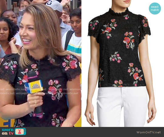 Short-Sleeve Floral-Embroidered Lace Top by Rebecca Taylor worn by Ginger Zee on Good Morning America