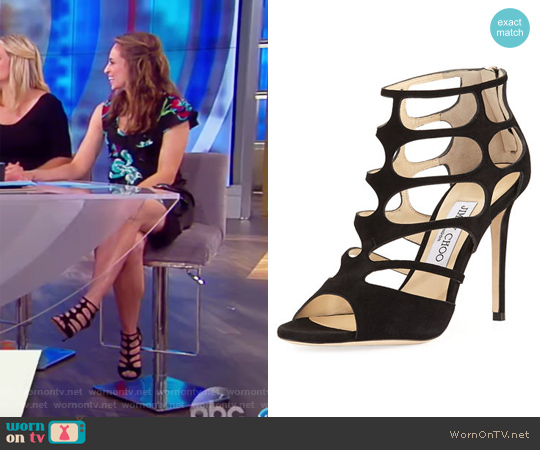 Ren Suede Caged 100mm Sandal by Jimmy Choo worn by Jedediah Bila on The View