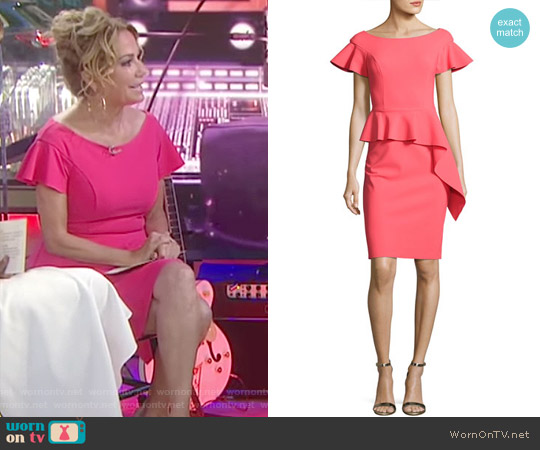Short-Sleeve Asymmetric Peplum Cocktail Dress by Teri Jon by Rickie Freeman worn by Kathie Lee Gifford on Today