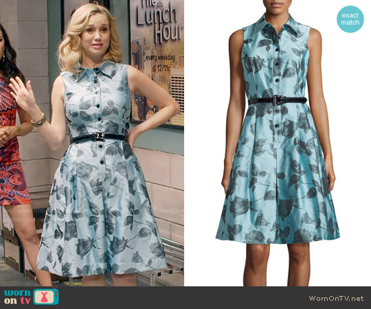 Rickie Freeman for Teri Jon Sleeveless Belted Floral Shirtdress worn by Heather Flynn-Kellogg (Fiona Gubelmann) on Daytime Divas