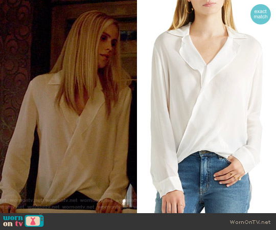 'Rita' Blouse in Mulberry by L'Agence worn by Claire Holt on The Originals