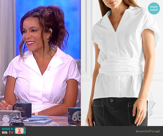 Have the Wind at Your Back cotton-poplin shirt by Rosie Assoulin worn by Sunny Hostin on The View