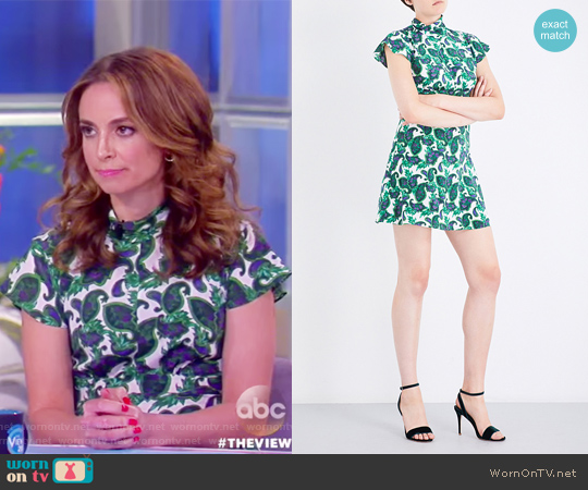 Paisley-patterned silk dress by Sandro worn by Jedediah Bila on The View