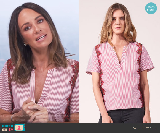 Striped cotton Top with V-neck by Sandro worn by Catt Sadler (Catt Sadler) on E! News