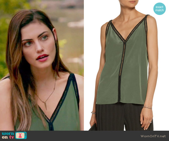 Empire open-knit cotton-trimmed silk top by Snadro worn by Phoebe Tonkin on The Originals