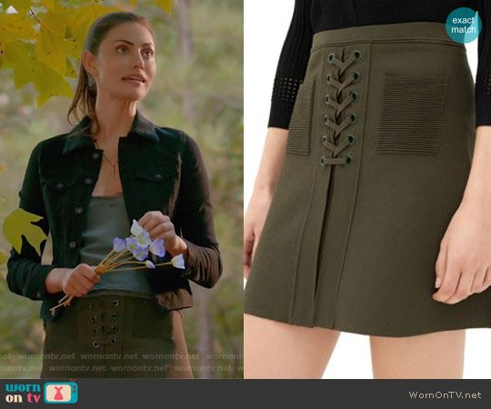 Joelle Lace-Up Skirt by Sandro worn by Hayley on The Originals