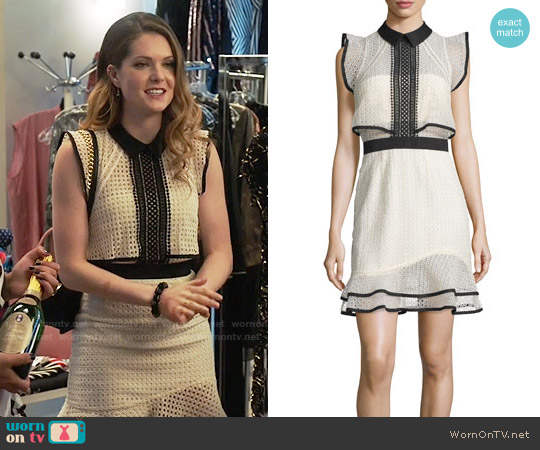 Self Portrait Sleeveless Lace Popover Mini Dress worn by Sutton (Meghann Fahy) on The Bold Type