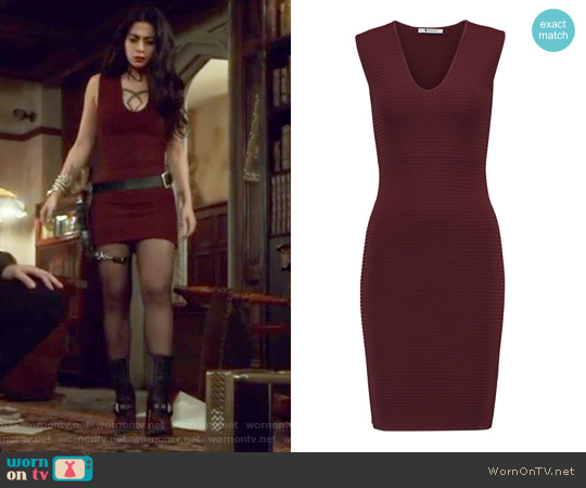 Dress: Cutout ribbed-knit mini dress by T by Alexander Wang worn by Emeraude Toubia  on Shadowhunters