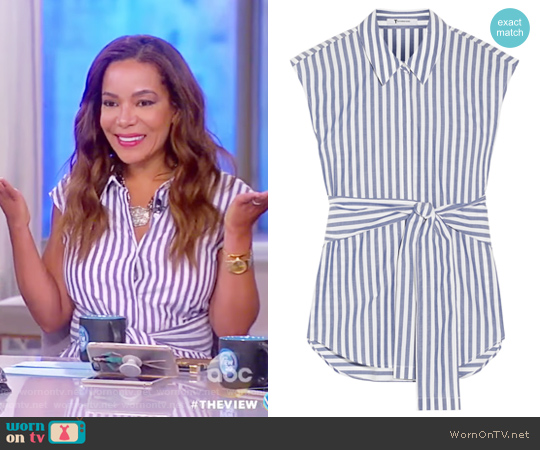 Tie-front striped cotton-poplin shirt by Alexander Wang worn by Sunny Hostin  on The View