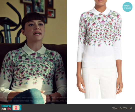 'Karn' Thistle Print Cotton Sweater by Ted Baker worn by Tatiana Maslany on Orphan Black