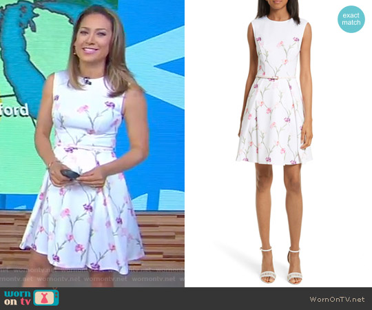 Ahlanna Sketchbook Skater Dress by Ted Baker worn by Ginger Zee  on Good Morning America
