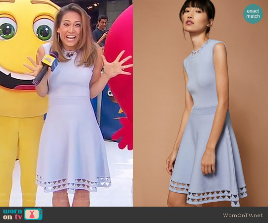 'Kathlyn' Cut-work Knitted Skater Dress by Ted Baker worn by Ginger Zee on Good Morning America