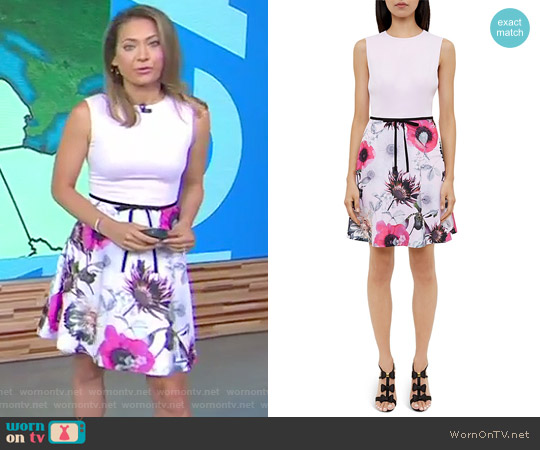 Seedda Neon Poppy Crepe Dress by Ted Baker worn by Ginger Zee on Good Morning America