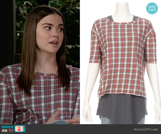 Tee Lab by Frank & Eileen Plaid Core Elbow Tee worn by Callie Jacob (Maia Mitchell) on The Fosters