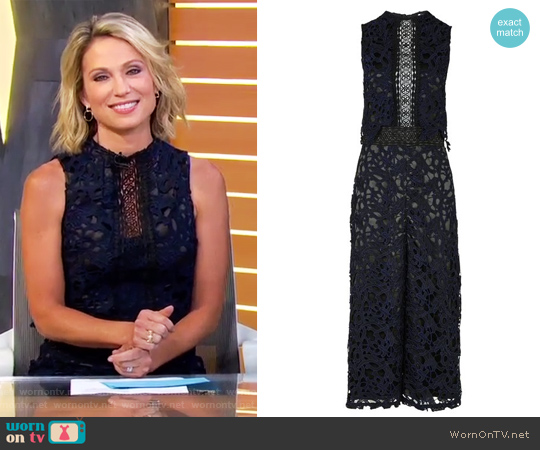 2 Tone Lace Jumpsuit by Topshop worn by Amy Robach on Good Morning America