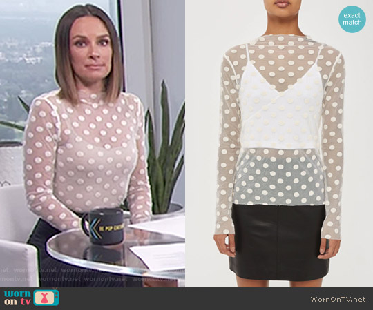 Polka Dot Mesh Top by Topshop Boutique worn by Catt Sadler on E! News