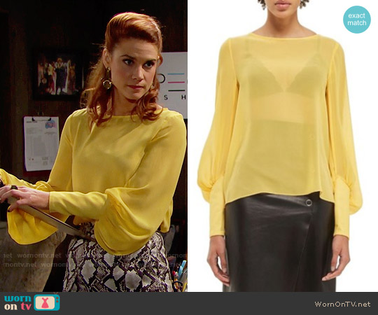 Topshop Boutique Puff Sleeve Silk Blouse worn by Sally Spectra (Courtney Hope) on The Bold & the Beautiful