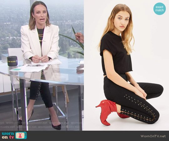 Joni Side Lace-Up Ankle Skinny Jeans by Topshop worn by Catt Sadler  on E! News
