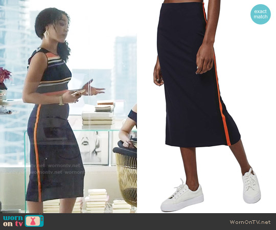 Topshop Side Stripe Midi Skirt worn by Kat Edison on The Bold Type