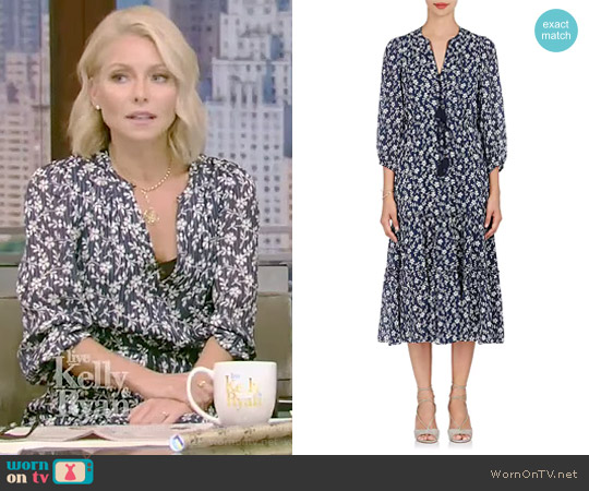 Clementine Cotton-Silk Peasant Midi-Dress by Ulla Johnson worn by Kelly Ripa on Live with Kelly & Ryan