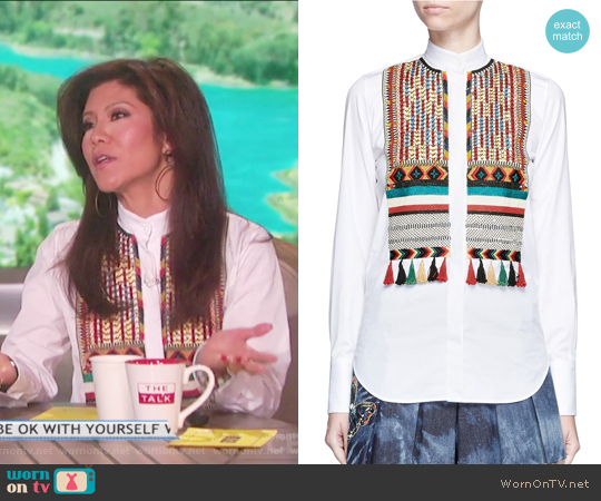 Bead Embroidered Bib Poplin Shirt by Valentino worn by Julie Chen  on The Talk