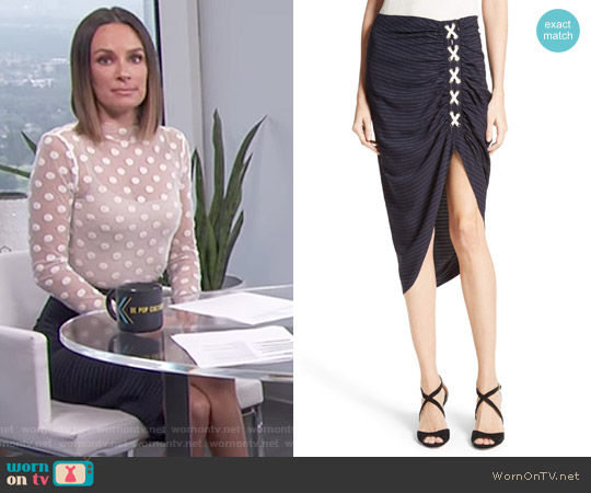 Marlow Ruched Lace-Up Skirt by Veronica Beard worn by Catt Sadler on E! News